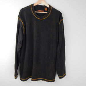 Orvis Long Sleeve Tee XL Brown Gold Overstitching